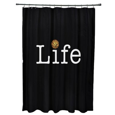 Bauer Life and Ball Word Shower Curtain Color: Black