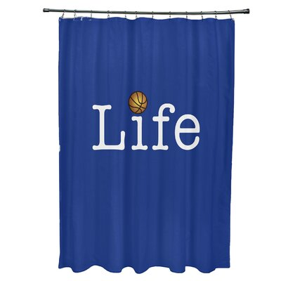 Bauer Life and Ball Word Shower Curtain Color: Royal Blue