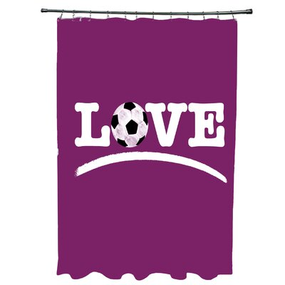 Bauer Love Soccer Word Shower Curtain Color: Pink
