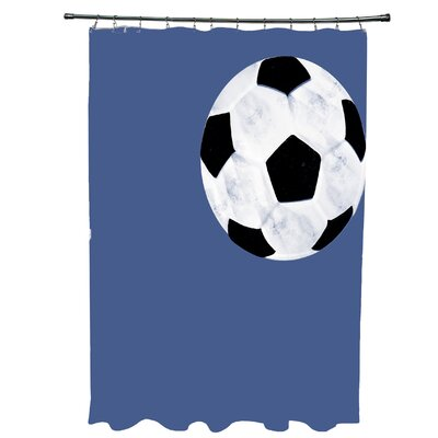 Bauer Soccer Ball Shower Curtain Color: Blue