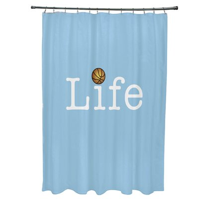 Bauer Life and Ball Word Shower Curtain Color: Blue