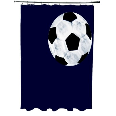 Bauer Soccer Ball Shower Curtain Color: Navy Blue