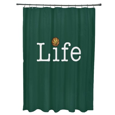 Bauer Life and Ball Word Shower Curtain Color: Green