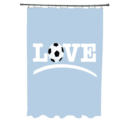 Bauer Love Soccer Word Shower Curtain Color: Light Blue