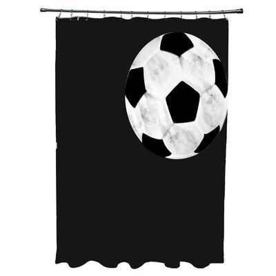 Bauer Soccer Ball Shower Curtain Color: Black