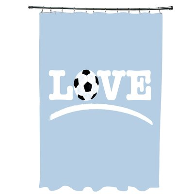 Bauer Love Soccer Word Shower Curtain Color: Black