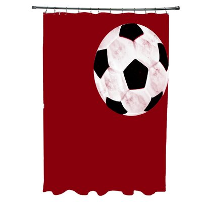 Bauer Soccer Ball Shower Curtain Color: Red