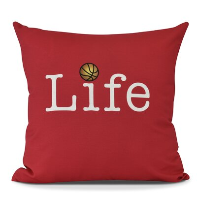 Bauer Life and Ball Word Throw Pillow Size: 18 H x 18 W, Color: Red