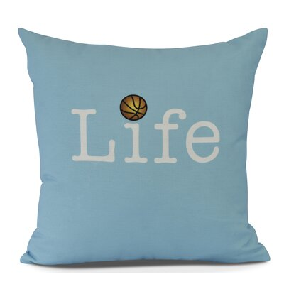 Bauer Life and Ball Word Throw Pillow Size: 26 H x 26 W, Color: Blue