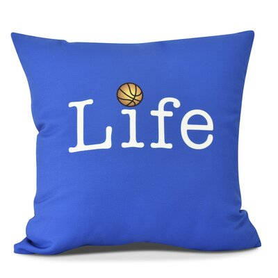 Bauer Life and Ball Word Throw Pillow Size: 18 H x 18 W, Color: Royal Blue