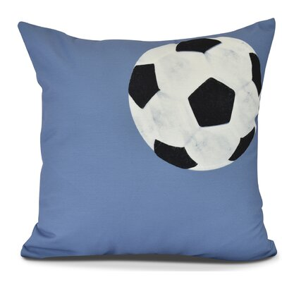 Bauer Soccer Bal Throw Pillow Size: 26 H x 26 W, Color: Blue