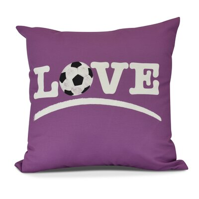 Bauer Love Soccer Word Throw Pillow Size: 18 H x 18 W, Color: Pink