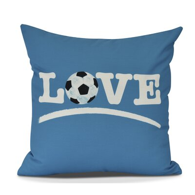 Bauer Love Soccer Word Throw Pillow Size: 16 H x 16 W, Color: Teal
