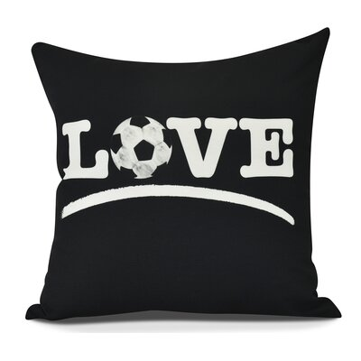Bauer Love Soccer Word Throw Pillow Color: Black, Size: 26 H x 26 W