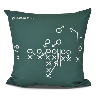 Bauer Half Back Dive Throw Pillow Size: 16 H x 16 W, Color: Green