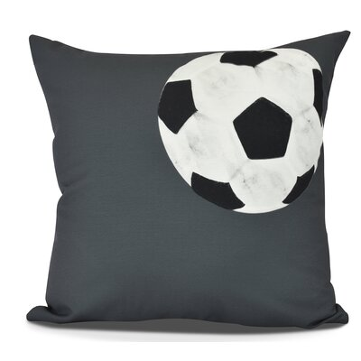 Bauer Soccer Bal Throw Pillow Size: 18 H x 18 W, Color: Black