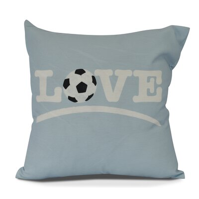 Bauer Love Soccer Word Throw Pillow Size: 18 H x 18 W, Color: Light Blue