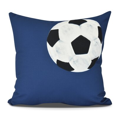Bauer Soccer Bal Throw Pillow Size: 26 H x 26 W, Color: Navy Blue