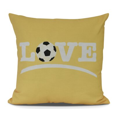 Bauer Love Soccer Word Throw Pillow Size: 18 H x 18 W, Color: Yellow