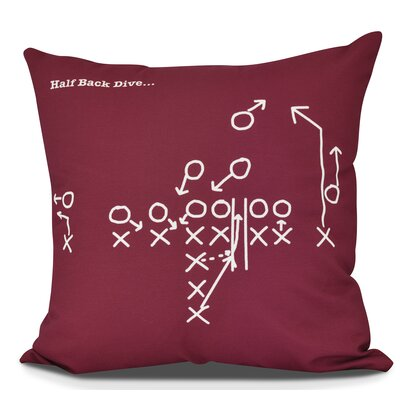 Bauer Half Back Dive Throw Pillow Size: 18 H x 18 W, Color: Cranberry