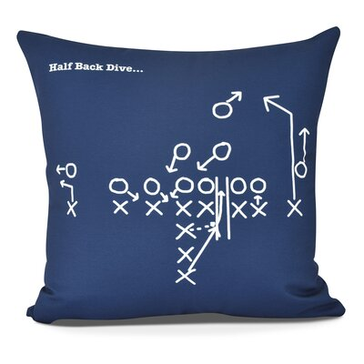 Bauer Half Back Dive Throw Pillow Size: 18 H x 18 W, Color: Navy Blue