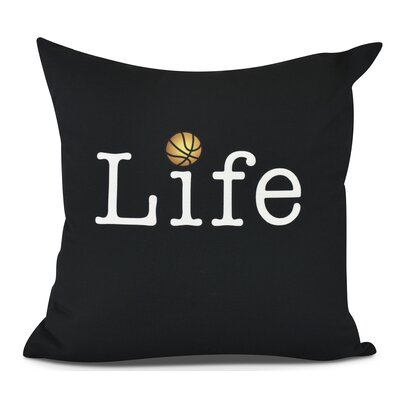 Bauer and Ball Word Outdoor Throw Pillow Size: 16 H x 16 W, Color: Black