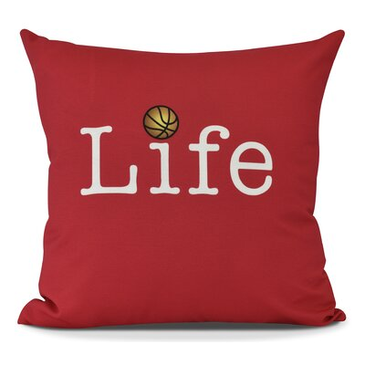 Bauer and Ball Word Outdoor Throw Pillow Size: 20 H x 20 W, Color: Red
