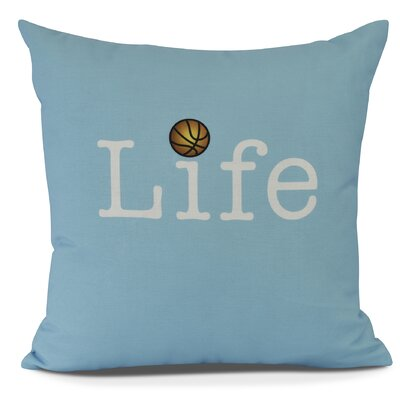 Bauer and Ball Word Outdoor Throw Pillow Size: 18 H x 18 W, Color: Blue