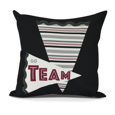 Bauer Go Team! Word Outdoor Throw Pillow Size: 18 H x 18 W, Color: Black