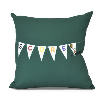 Bauer Score! Word Outdoor Throw Pillow Size: 18 H x 18 W, Color: Green