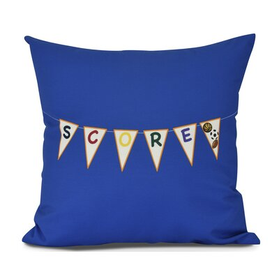 Bauer Score! Word Outdoor Throw Pillow Color: Royal Blue, Size: 20 H x 20 W