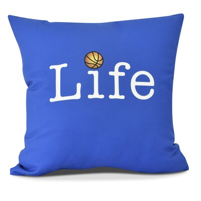 Bauer and Ball Word Outdoor Throw Pillow Size: 18 H x 18 W, Color: Royal Blue