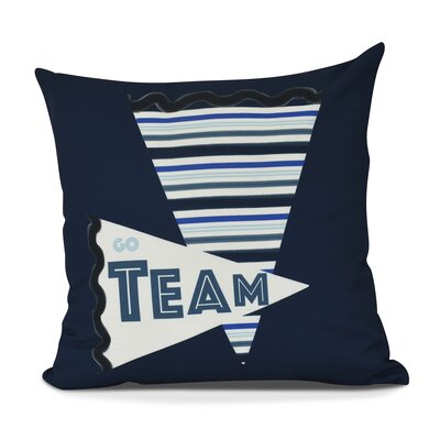 Bauer Go Team! Word Outdoor Throw Pillow Size: 16 H x 16 W, Color: Navy Blue