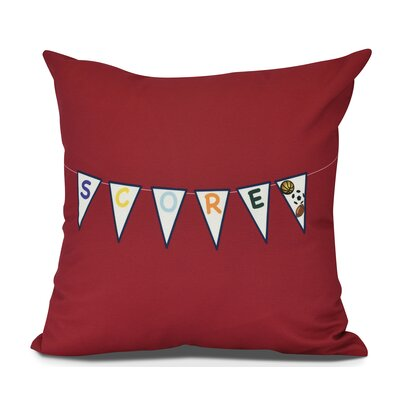 Bauer Score! Word Outdoor Throw Pillow Size: 18 H x 18 W, Color: Red