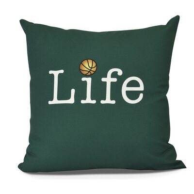 Bauer and Ball Word Outdoor Throw Pillow Size: 16 H x 16 W, Color: Green