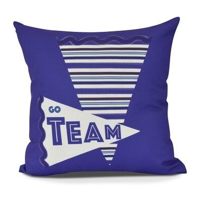 Bauer Go Team! Word Outdoor Throw Pillow Size: 18 H x 18 W, Color: Purple