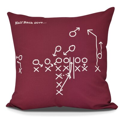 Bauer Half Back Dive Outdoor Throw Pillow Size: 18 H x 18 W, Color: Cranberry