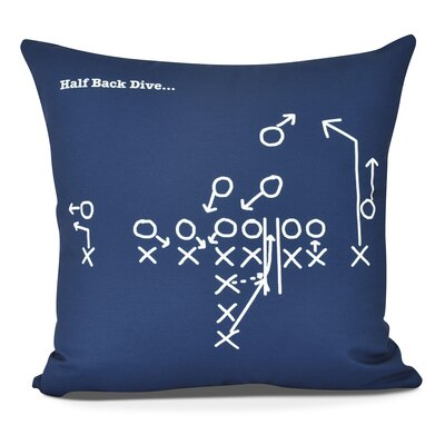 Bauer Half Back Dive Outdoor Throw Pillow Size: 18 H x 18 W, Color: Navy Blue