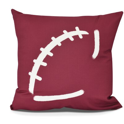 Bauer Football Outdoor Throw Pillow Color: Cranberry, Size: 18 H x 18 W