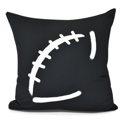 Bauer Football Outdoor Throw Pillow Size: 20 H x 20 W, Color: Black