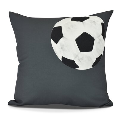 Bauer Soccer Ball Outdoor Throw Pillow Size: 18 H x 18 W, Color: Black