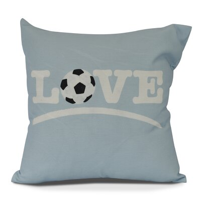 Bauer Love Soccer Word Outdoor Throw Pillow Size: 18 H x 18 W, Color: Light Blue