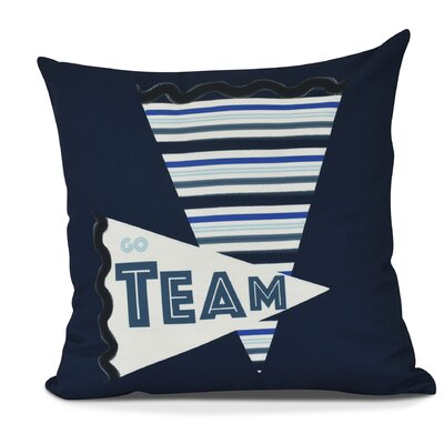 Bauer Go Team! Word Throw Pillow Size: 16 H x 16 W, Color: Navy Blue