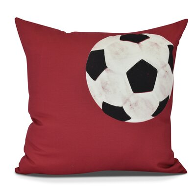 Bauer Soccer Ball Outdoor Throw Pillow Size: 18 H x 18 W, Color: Red