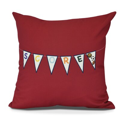 Bauer Score! Word Throw Pillow Size: 18 H x 18 W, Color: Red