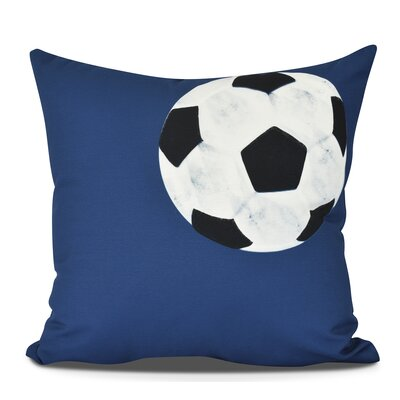 Bauer Soccer Ball Outdoor Throw Pillow Size: 16 H x 16 W, Color: Navy Blue