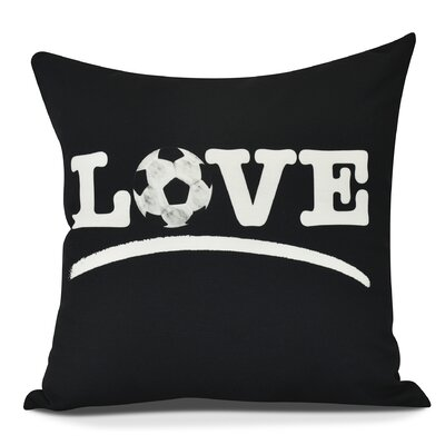 Bauer Love Soccer Word Outdoor Throw Pillow Size: 18 H x 18 W, Color: Black
