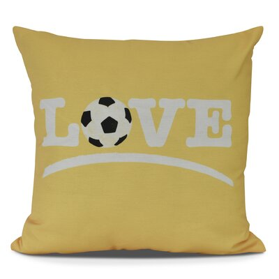 Bauer Love Soccer Word Outdoor Throw Pillow Size: 16 H x 16 W, Color: Yellow