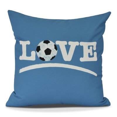 Bauer Love Soccer Word Outdoor Throw Pillow Size: 18 H x 18 W, Color: Teal