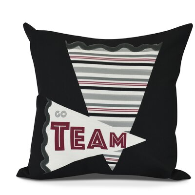 Bauer Go Team! Word Throw Pillow Size: 16 H x 16 W, Color: Black